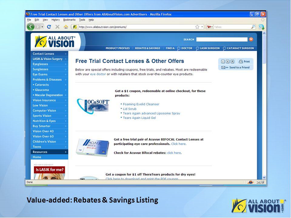 Value-added: Rebates & Savings Listing