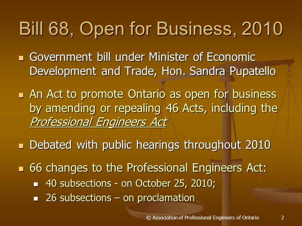 Bill 68, Open for Business, 2010 Government bill under Minister of Economic Development and Trade, Hon.