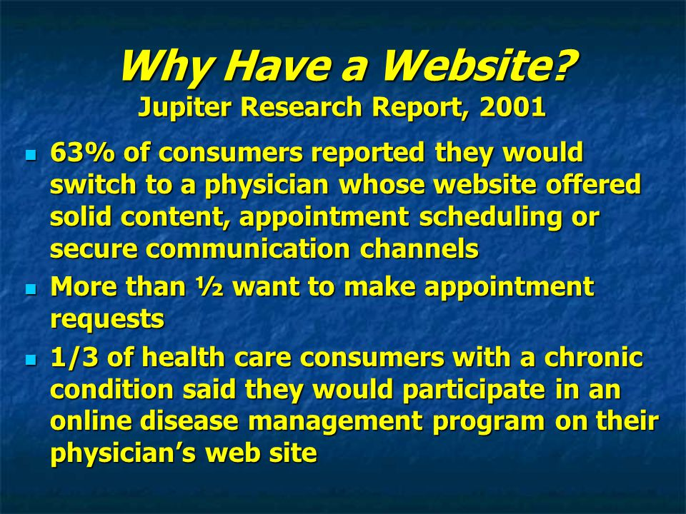 Why Have a Website? Jupiter Research Report, 2001 63% of consumers reported they would switch to a physician whose website offered solid content, appo