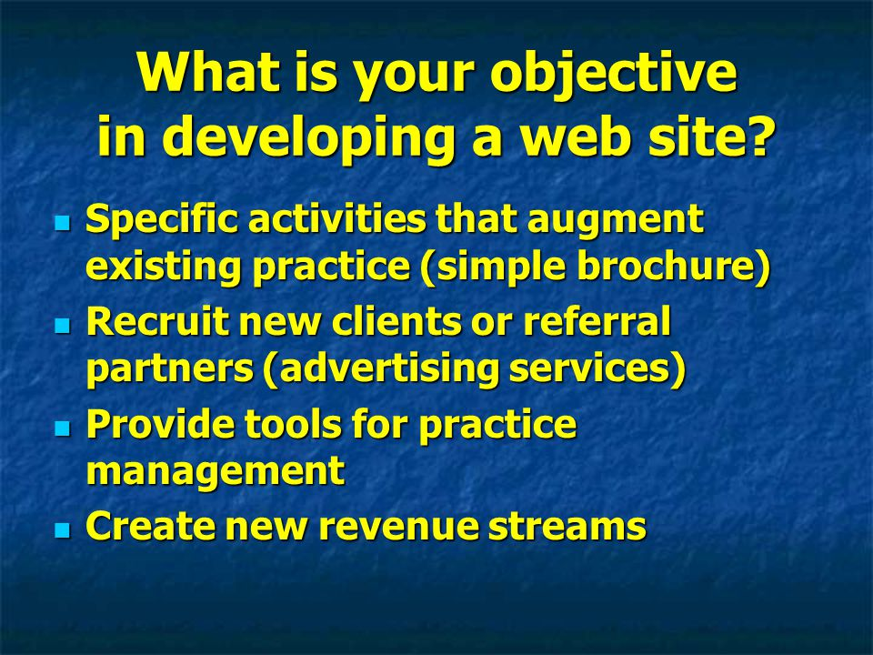 Key Elements to Consider in Developing a Web Site Content Content Technical Features Technical Features Ethical considerations Ethical considerations