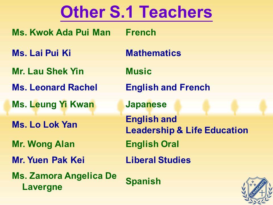Ms. Kwok Ada Pui ManFrench Ms. Lai Pui KiMathematics Mr. Lau Shek YinMusic Ms. Leonard RachelEnglish and French Ms. Leung Yi KwanJapanese Ms. Lo Lok Y