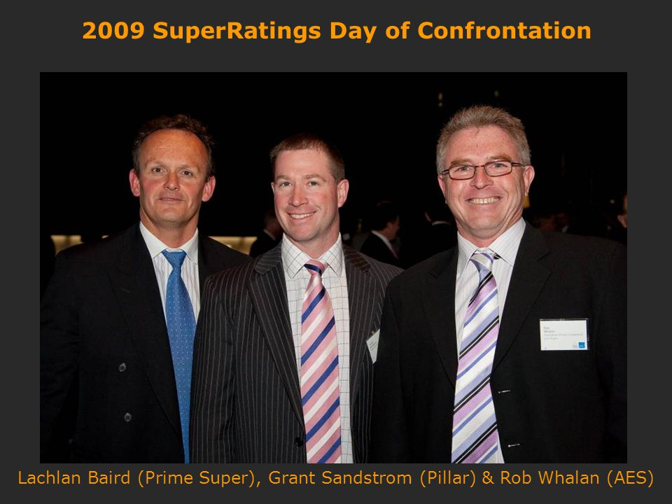 2009 SuperRatings Day of Confrontation Lachlan Baird (Prime Super), Grant Sandstrom (Pillar) & Rob Whalan (AES)