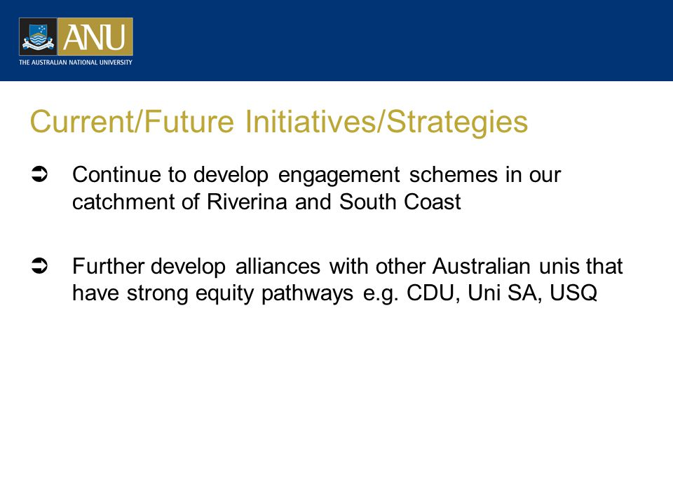 Current/Future Initiatives/Strategies  Continue to develop engagement schemes in our catchment of Riverina and South Coast  Further develop alliances with other Australian unis that have strong equity pathways e.g.