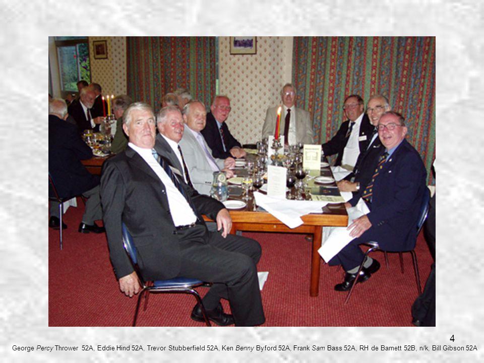 4 George Percy Thrower 52A, Eddie Hind 52A, Trevor Stubberfield 52A, Ken Benny Byford 52A, Frank Sam Bass 52A, RH de Barnett 52B, n/k, Bill Gibson 52A