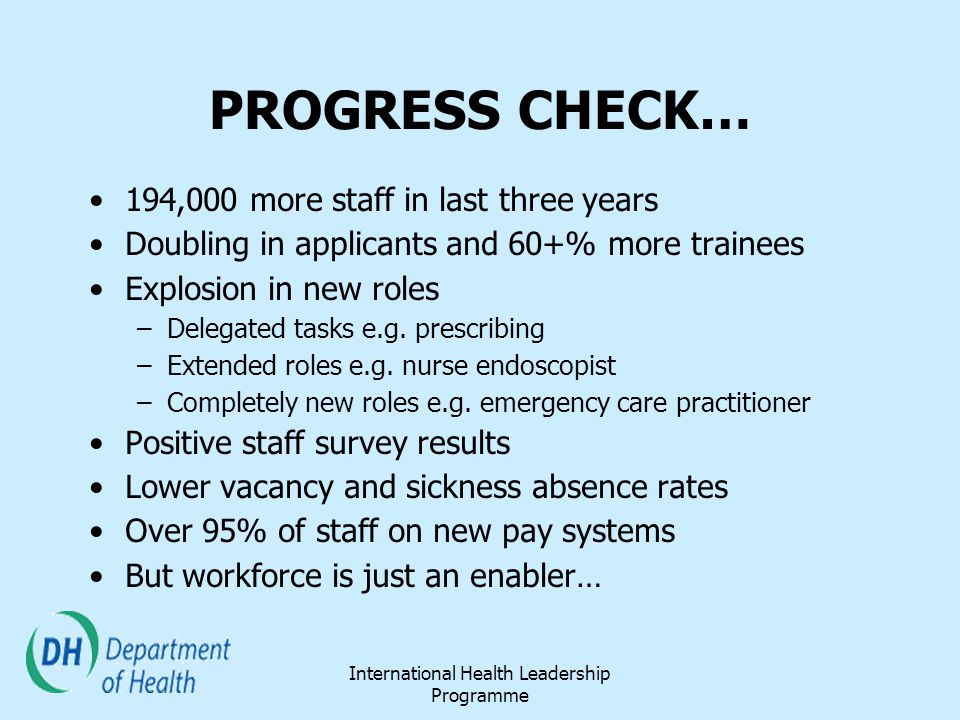 PROGRESS CHECK… 194,000 more staff in last three years Doubling in applicants and 60+% more trainees Explosion in new roles –Delegated tasks e.g. pres