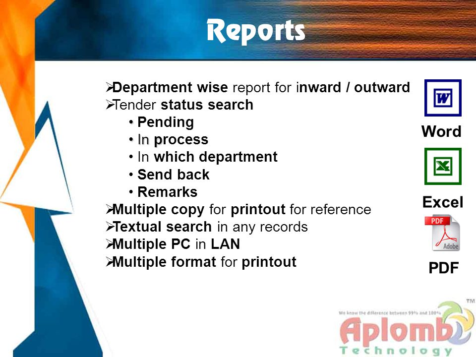 Reports  Department wise report for inward / outward  Tender status search Pending In p In process In which department Send back Remarks  Multiple
