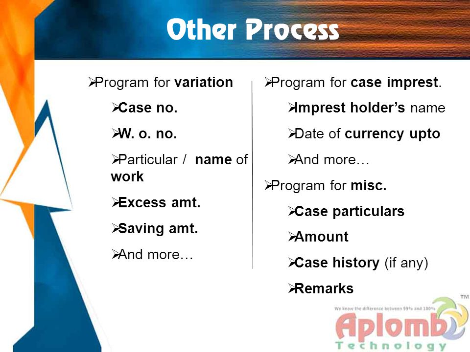 Other Process  Program for variation  Case no.  W.