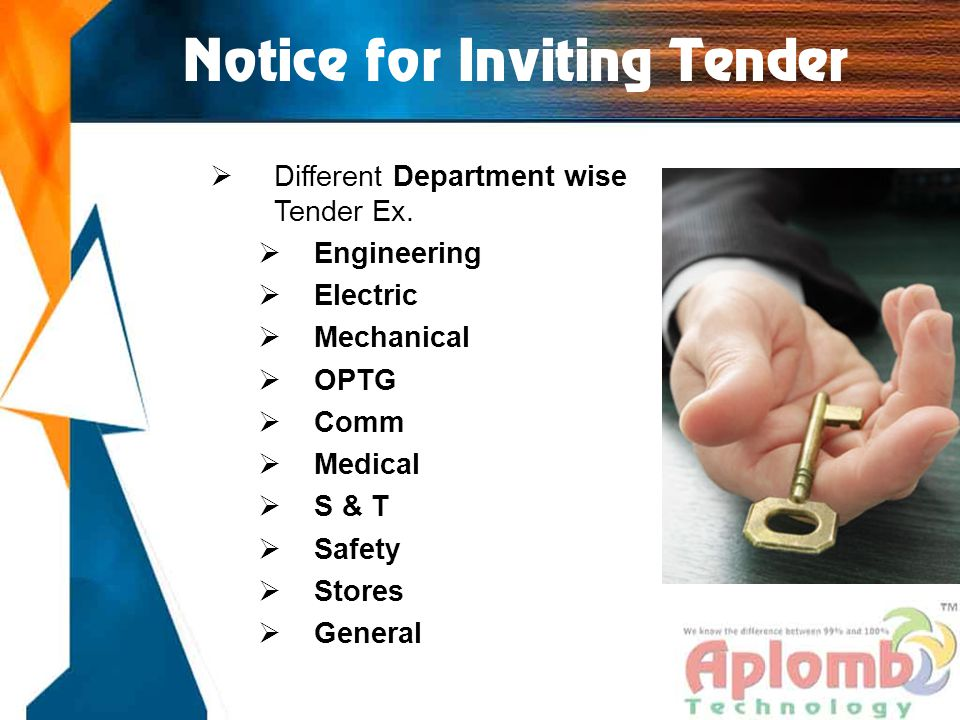 Notice for Inviting Tender  Different Department wise Tender Ex.