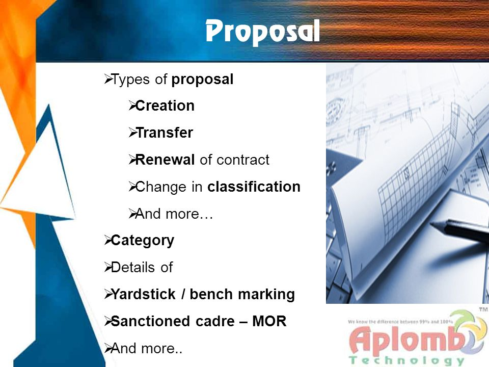 Proposal  Types of proposal  Creation  Transfer  Renewal of contract  Change in classification  And more…  Category  Details of  Yardstick / bench marking  Sanctioned cadre – MOR  And more..