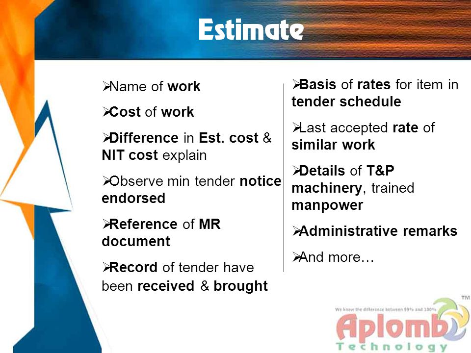 Estimate  Name of work  Cost of work  Difference in Est.
