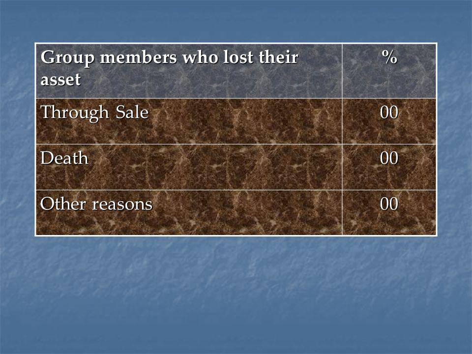 Group members who lost their asset % Through Sale 00 Death00 Other reasons 00