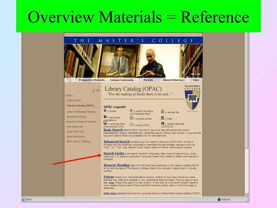 Overview Materials = Reference