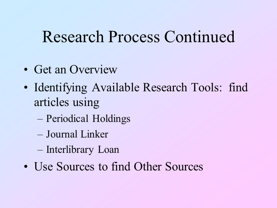 Research Process Continued Get an Overview Identifying Available Research Tools: find articles using –Periodical Holdings –Journal Linker –Interlibrary Loan Use Sources to find Other Sources