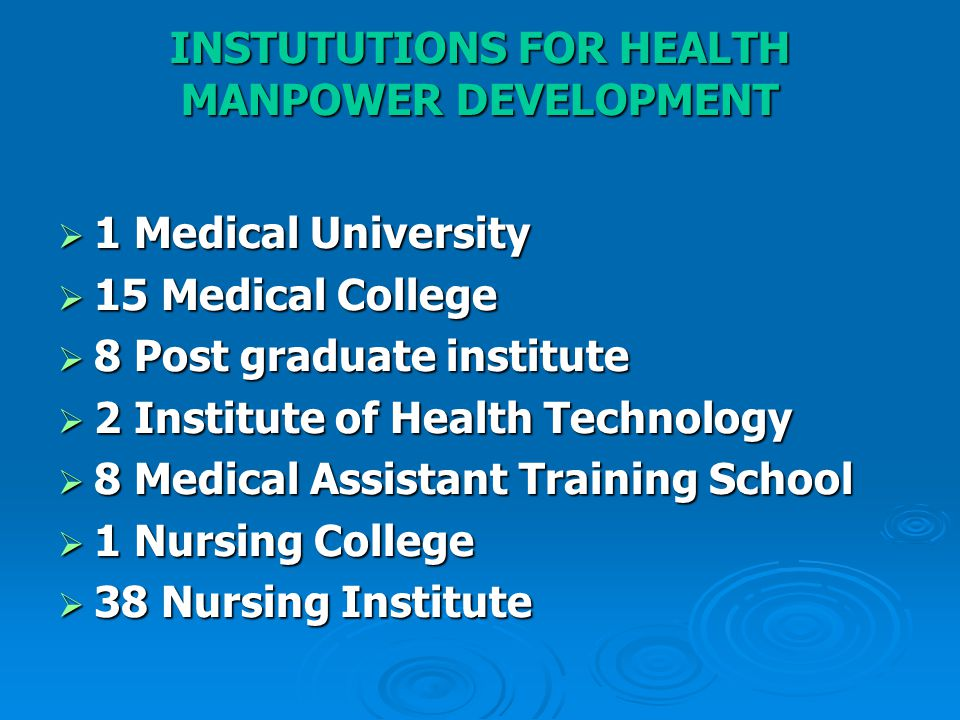 INSTUTUTIONS FOR HEALTH MANPOWER DEVELOPMENT  1 Medical University  15 Medical College  8 Post graduate institute  2 Institute of Health Technology  8 Medical Assistant Training School  1 Nursing College  38 Nursing Institute