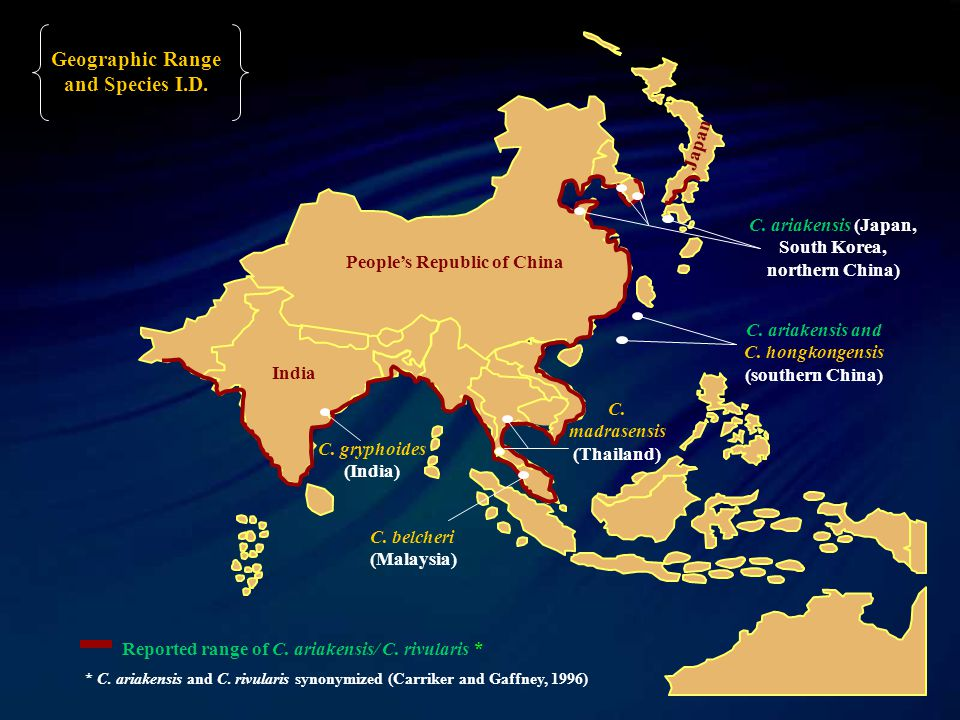 People's Republic of China India Japan Reported range of C.
