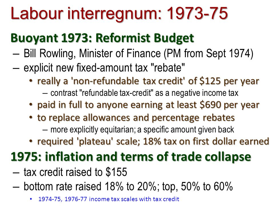 Labour interregnum: 1973-75 Buoyant 1973: Reformist Budget – Bill Rowling, Minister of Finance (PM from Sept 1974) – explicit new fixed-amount tax rebate really a non-refundable tax credit of $125 per year really a non-refundable tax credit of $125 per year – contrast refundable tax-credit as a negative income tax paid in full to anyone earning at least $690 per year paid in full to anyone earning at least $690 per year to replace allowances and percentage rebates to replace allowances and percentage rebates – more explicitly equitarian; a specific amount given back required plateau scale; 18% tax on first dollar earned required plateau scale; 18% tax on first dollar earned 1975: inflation and terms of trade collapse – tax credit raised to $155 – bottom rate raised 18% to 20%; top, 50% to 60% 1974-75, 1976-77 income tax scales with tax credit