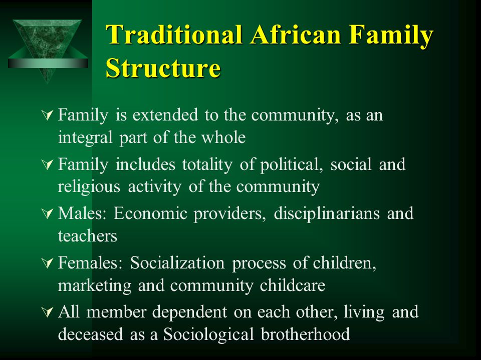 Traditional African Family Structure  Family is extended to the community, as an integral part of the whole  Family includes totality of political,