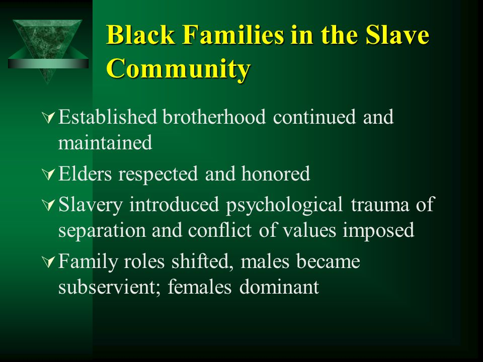 Black Families in the Slave Community  Established brotherhood continued and maintained  Elders respected and honored  Slavery introduced psycholog