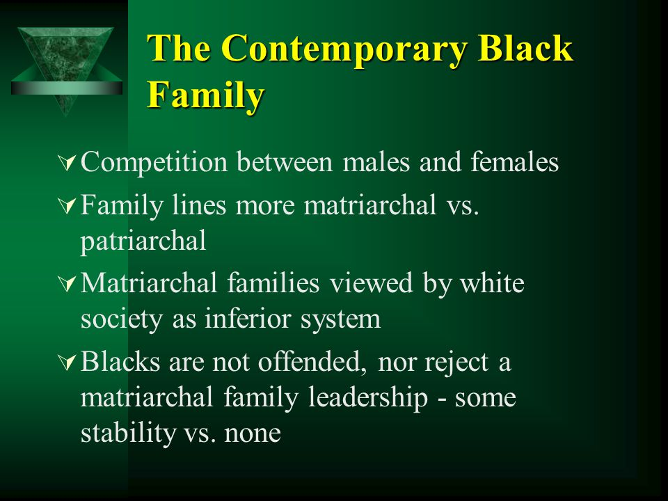 The Contemporary Black Family  Competition between males and females  Family lines more matriarchal vs. patriarchal  Matriarchal families viewed by
