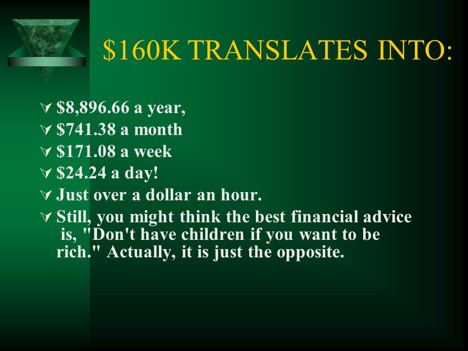 $160K TRANSLATES INTO:  $8,896.66 a year,  $741.38 a month  $171.08 a week  $24.24 a day!  Just over a dollar an hour.  Still, you might think t
