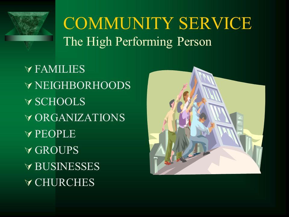 COMMUNITY SERVICE The High Performing Person  FAMILIES  NEIGHBORHOODS  SCHOOLS  ORGANIZATIONS  PEOPLE  GROUPS  BUSINESSES  CHURCHES