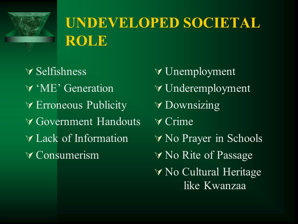 UNDEVELOPED SOCIETAL ROLE  Selfishness  'ME' Generation  Erroneous Publicity  Government Handouts  Lack of Information  Consumerism  Unemployme