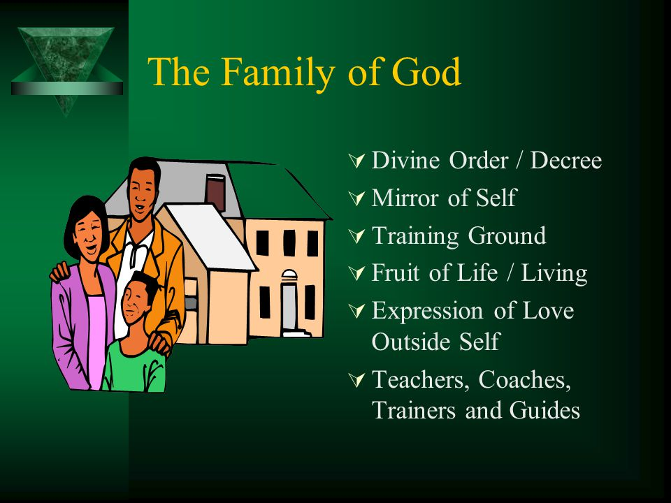 The Family of God  Divine Order / Decree  Mirror of Self  Training Ground  Fruit of Life / Living  Expression of Love Outside Self  Teachers, Co