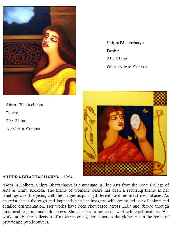 SHIPRA BHATTACHARYA – 1954 Born in Kolkota, Shipra Bhattacharya is a graduate in Fine Arts from the Govt.