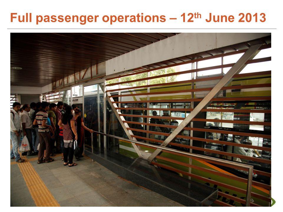 Full passenger operations – 12 th June 2013