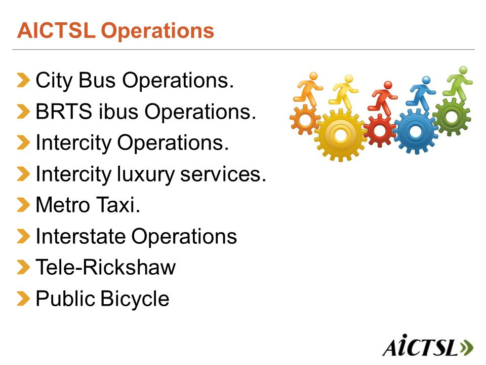 City Bus Operations. BRTS ibus Operations. Intercity Operations.