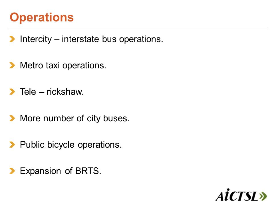 Intercity – interstate bus operations. Metro taxi operations.
