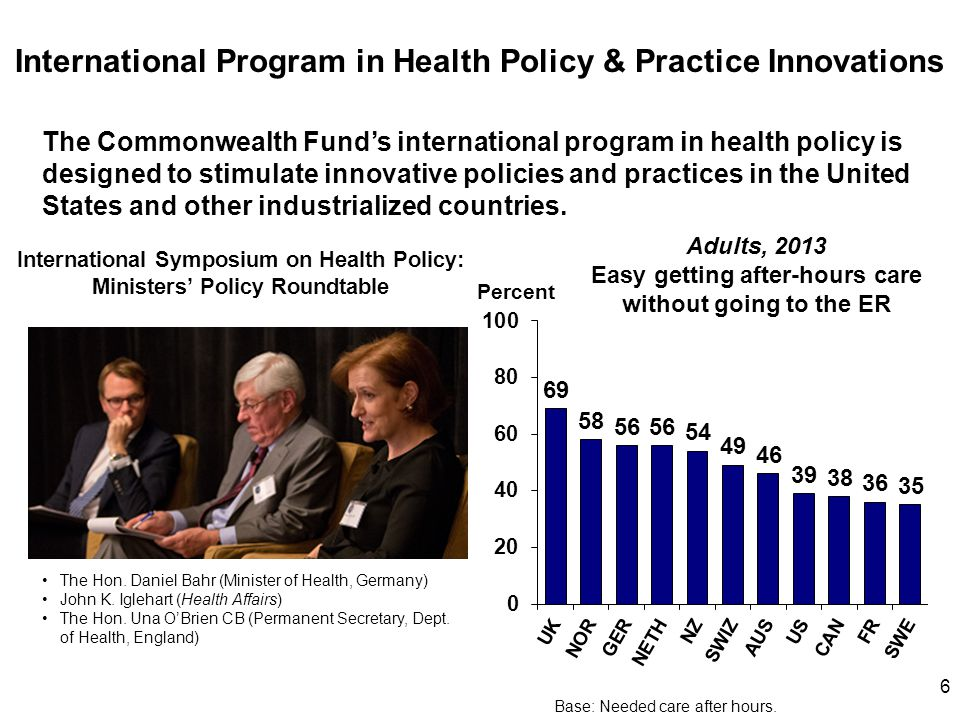 6 International Program in Health Policy & Practice Innovations The Commonwealth Fund's international program in health policy is designed to stimulat