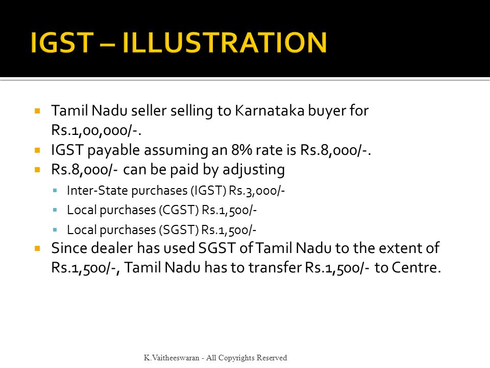  Tamil Nadu seller selling to Karnataka buyer for Rs.1,00,000/-.  IGST payable assuming an 8% rate is Rs.8,000/-.  Rs.8,000/- can be paid by adjust