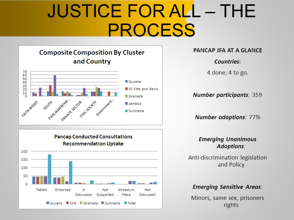 JUSTICE FOR ALL – THE PROCESS PANCAP JFA AT A GLANCE Countries: 4 done; 4 to go. Number participants: 359 Number adoptions: 77% Emerging Unanimous Ado