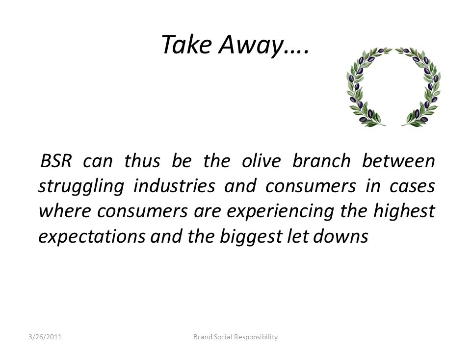 Take Away…. BSR can thus be the olive branch between struggling industries and consumers in cases where consumers are experiencing the highest expecta