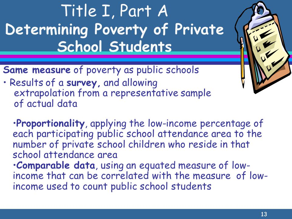 13 Title I, Part A Determining Poverty of Private School Students Same measure of poverty as public schools Results of a survey, and allowing extrapolation from a representative sample of actual data Proportionality, applying the low-income percentage of each participating public school attendance area to the number of private school children who reside in that school attendance area Comparable data, using an equated measure of low- income that can be correlated with the measure of low- income used to count public school students