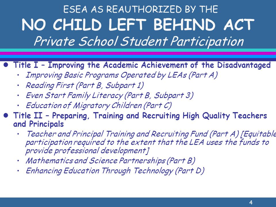 15 Title I, Part A Identifying Children To Be Served l Must reside in participating public school Title I attendance area AND are failing or most at risk of failing to meet high standards l Selected on the basis of multiple, educationally- related, developmentally-appropriate criteria l Homeless, 2 preceding years in Head Start, Even Start, Early Reading First, Title I Preschool or Title I, Part C (Migrant Education) l Poverty is NOT a criterion l District chooses children to be served from the list that the private school provides of eligible students