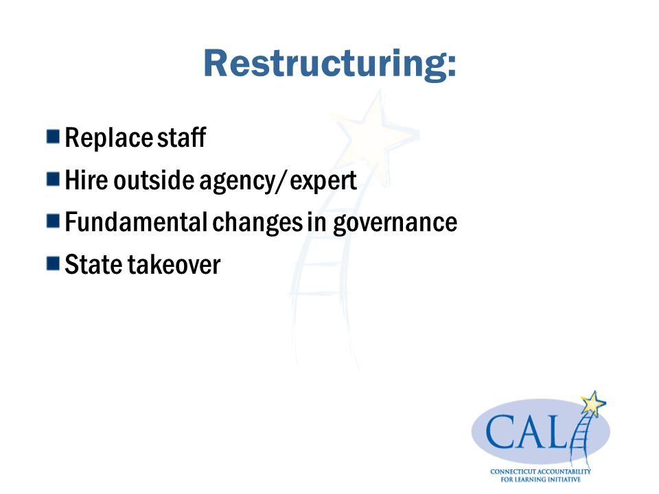 Restructuring: Replace staff Hire outside agency/expert Fundamental changes in governance State takeover
