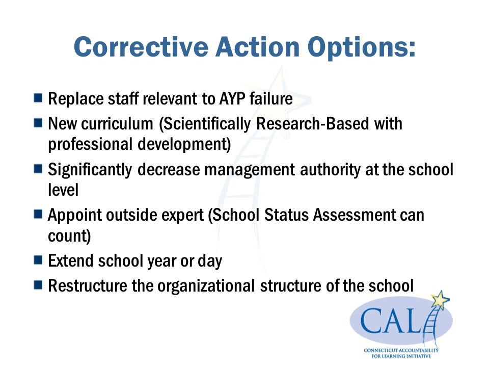 Corrective Action Options: Replace staff relevant to AYP failure New curriculum (Scientifically Research-Based with professional development) Signific
