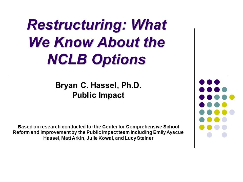 Restructuring: What We Know About the NCLB Options Bryan C.
