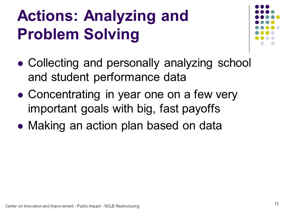 Center on Innovation and Improvement - Public Impact - NCLB Restructuring 13 Actions: Analyzing and Problem Solving Collecting and personally analyzing school and student performance data Concentrating in year one on a few very important goals with big, fast payoffs Making an action plan based on data