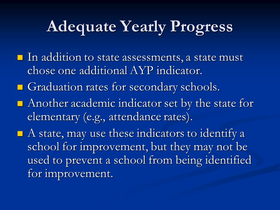 Adequate Yearly Progress In addition to state assessments, a state must chose one additional AYP indicator.