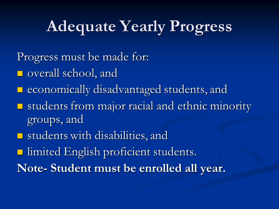 Adequate Yearly Progress Progress must be made for: overall school, and overall school, and economically disadvantaged students, and economically disadvantaged students, and students from major racial and ethnic minority groups, and students from major racial and ethnic minority groups, and students with disabilities, and students with disabilities, and limited English proficient students.