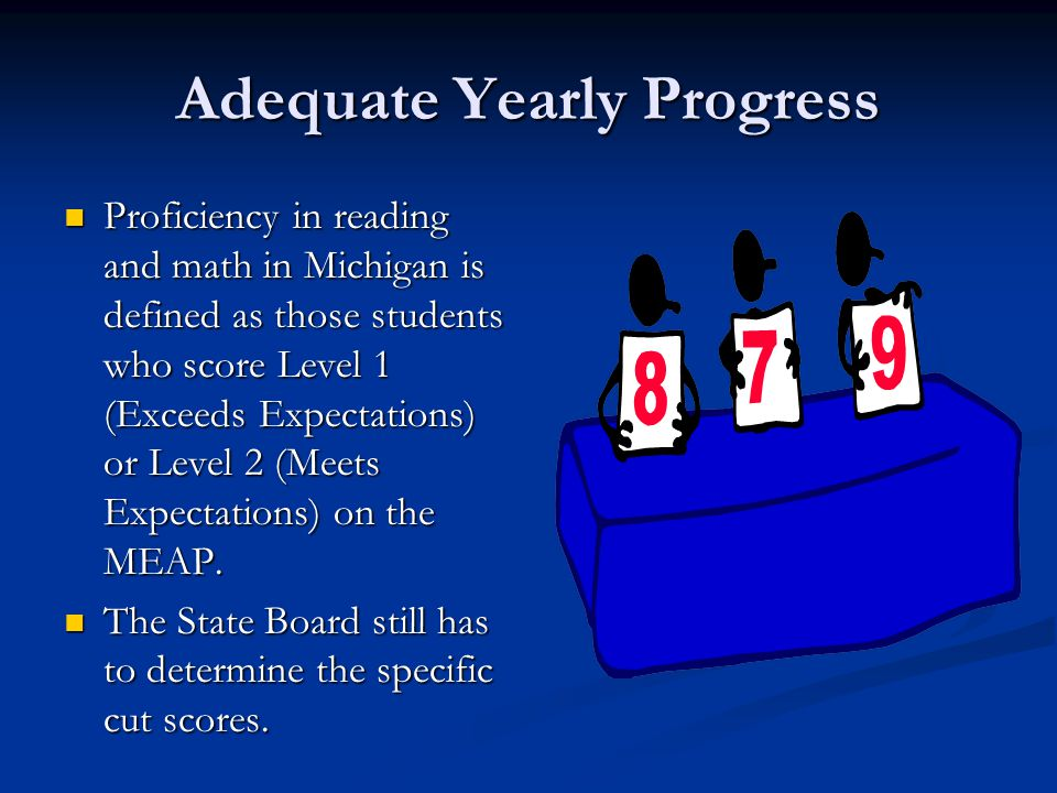 Adequate Yearly Progress Proficiency in reading and math in Michigan is defined as those students who score Level 1 (Exceeds Expectations) or Level 2 (Meets Expectations) on the MEAP.