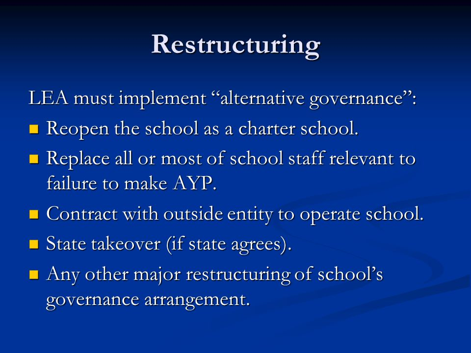 Restructuring LEA must implement alternative governance : Reopen the school as a charter school.