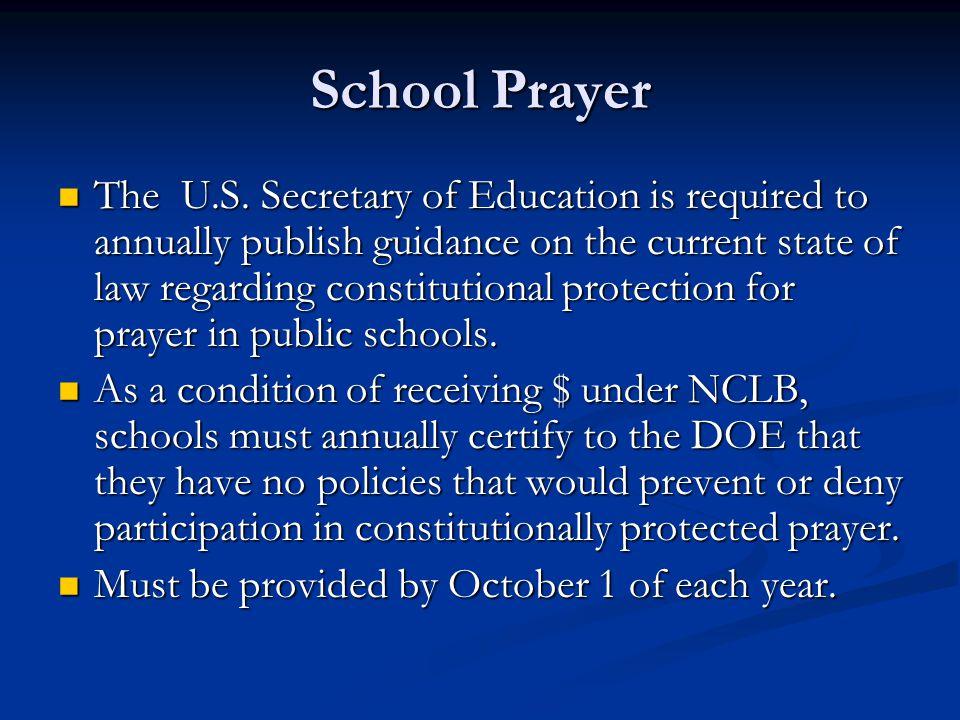 School Prayer The U.S.