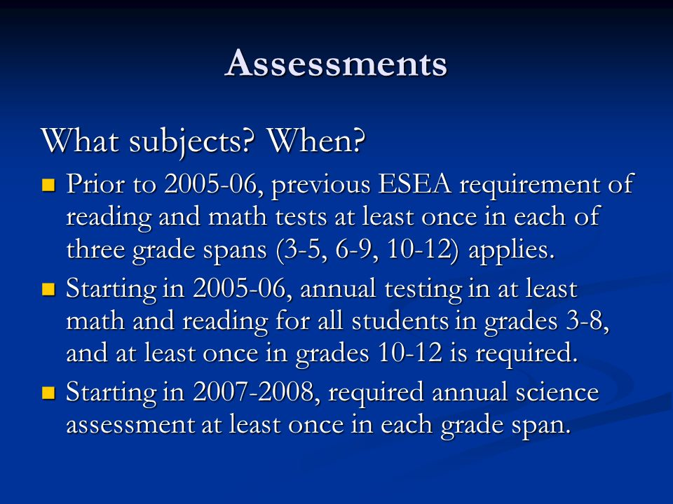 Assessments What subjects. When.