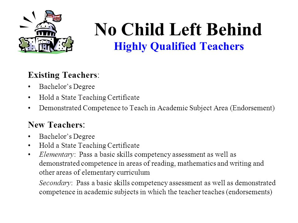 Highly Qualified Teachers All teachers teaching Core Academic Subjects must be highly qualified by 2005-2006.