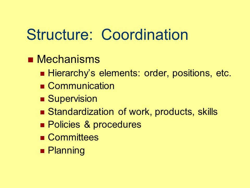 Structure: Coordination Mechanisms Hierarchy's elements: order, positions, etc. Communication Supervision Standardization of work, products, skills Po