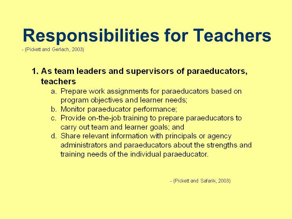 Responsibilities for Teachers